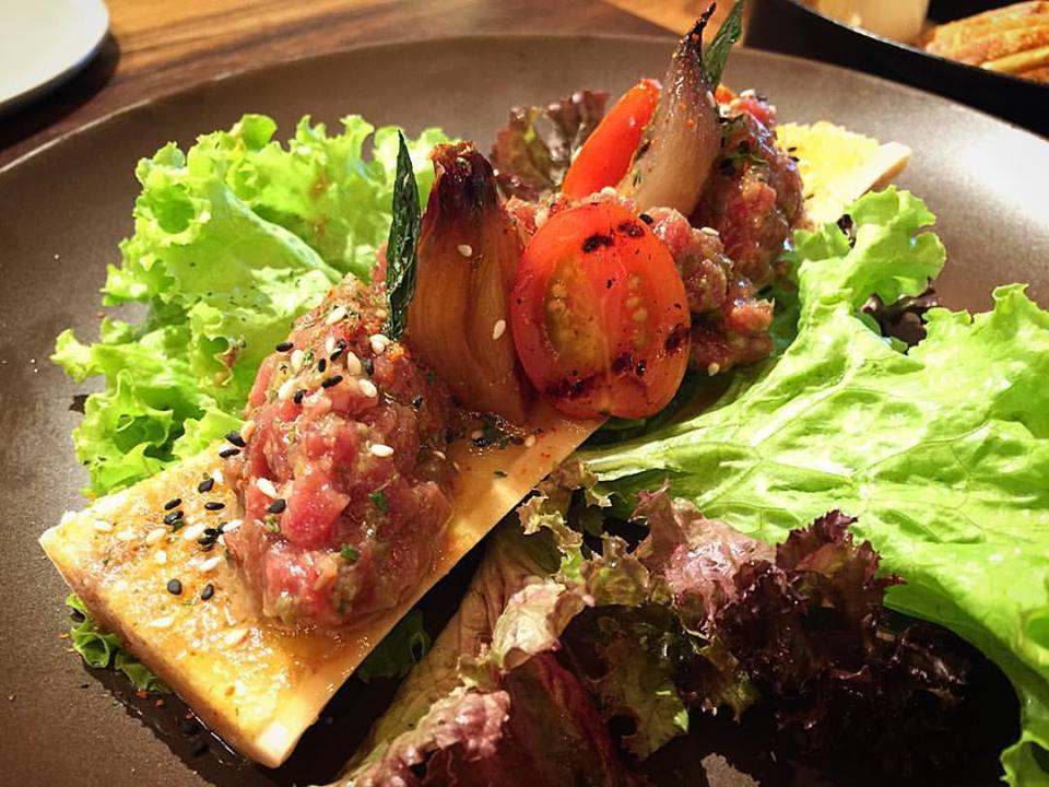 Roasted bone marrow with steak tartare.