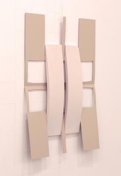 "Matt Keegan, Crossed w/ Strips (Soft Pink) , 2014,  spray- finished laser-cut steel, pigmented silicon, 32 1/2 x 23"""