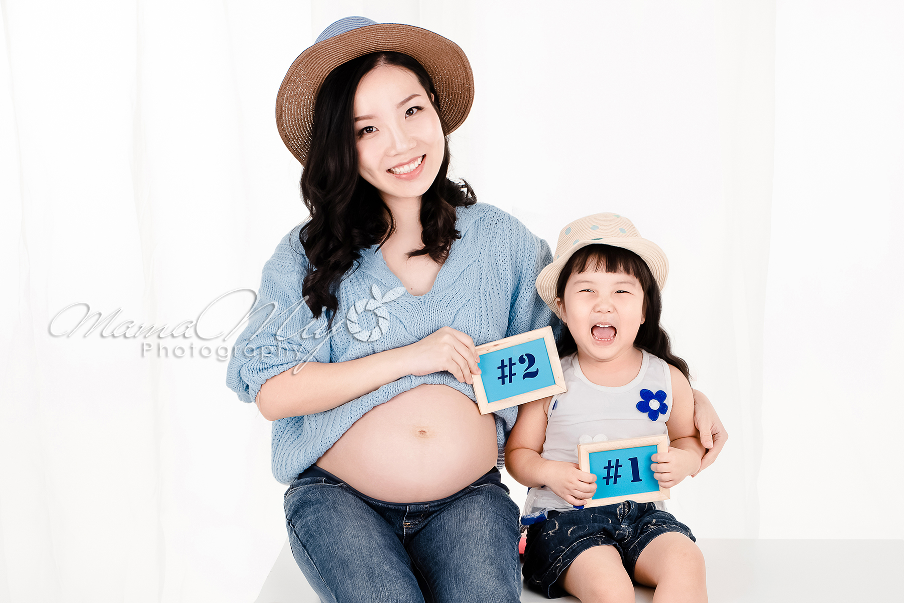 maternity knitted blue top