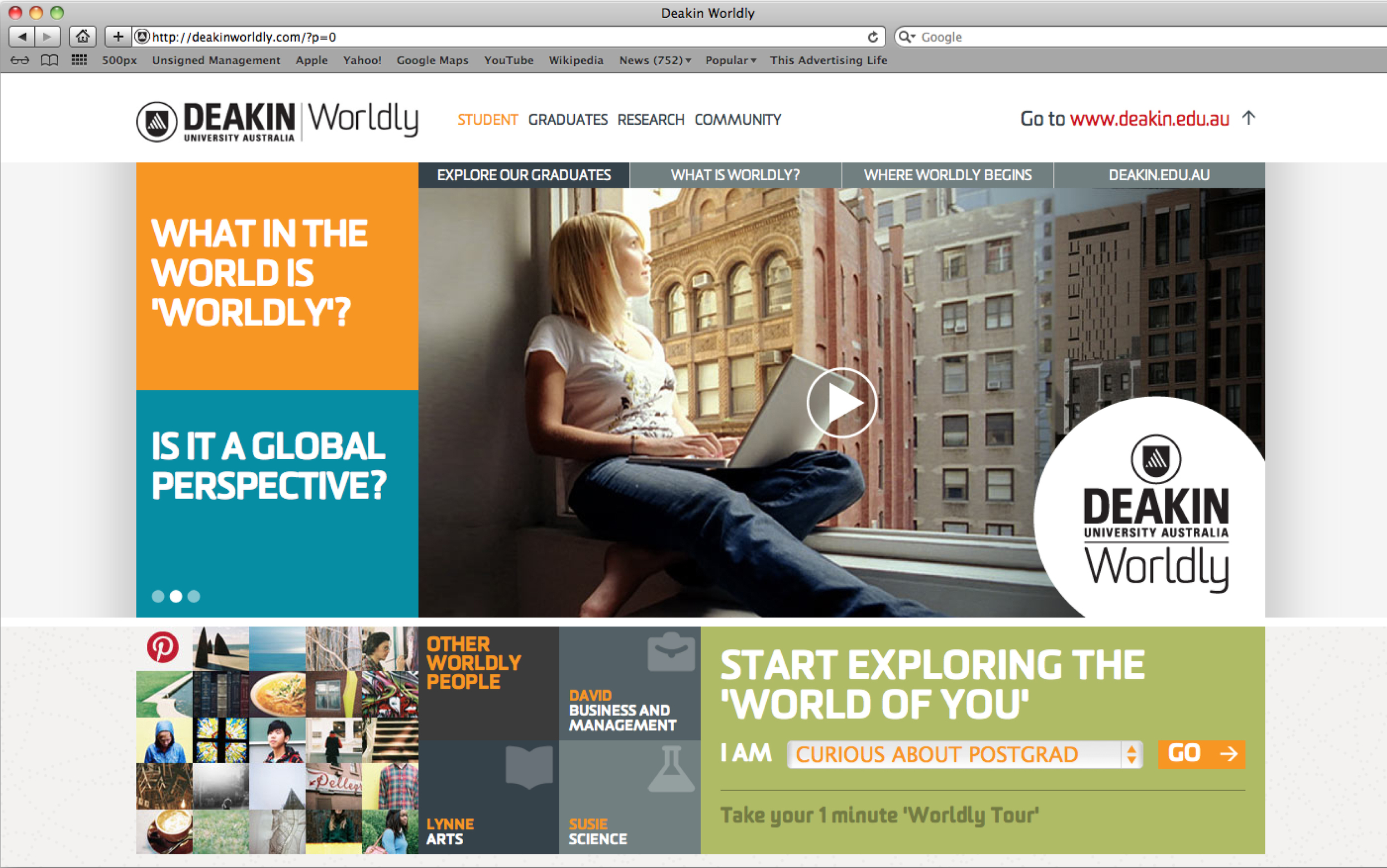 'Worldly' microsite whereby users were brought one step closer to a Deakin degree in an interactive way.