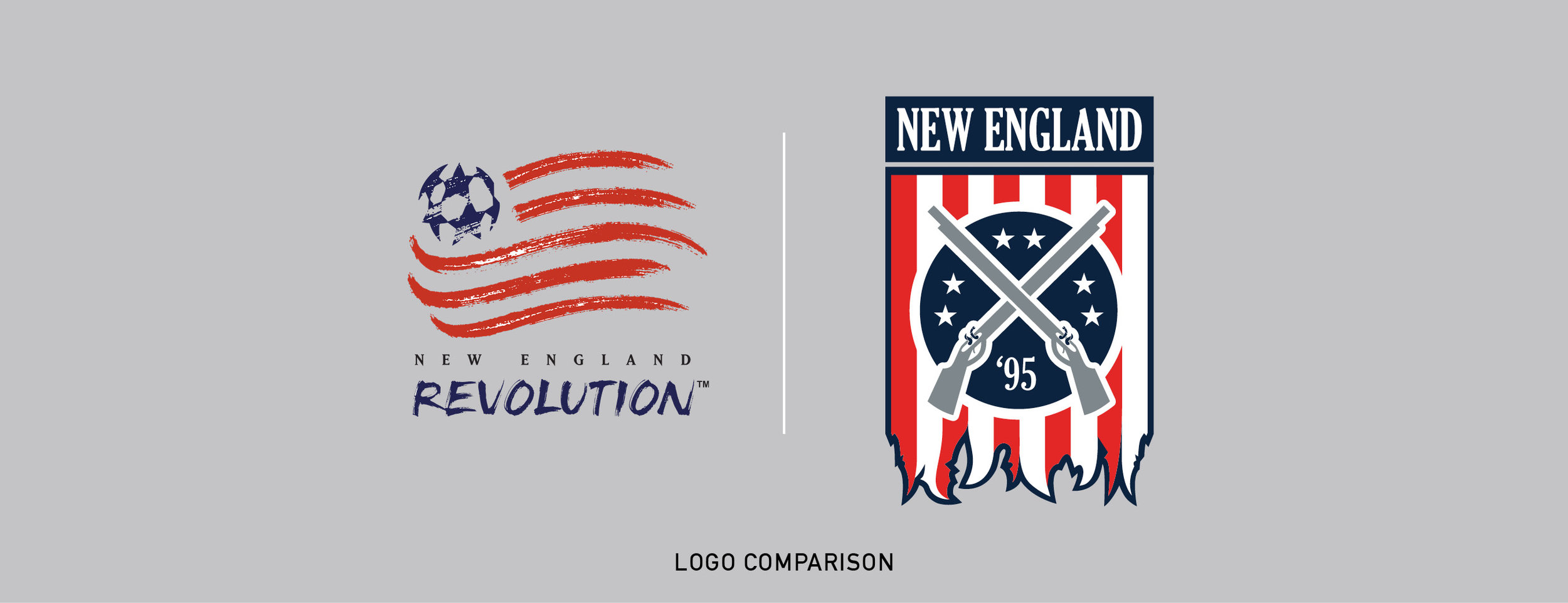 Comparison of New England Revolutions current logo and my vision.