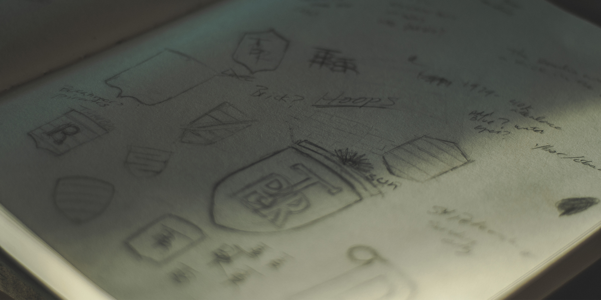 Page out of my sketch-book of my notes and sketches on the new logo