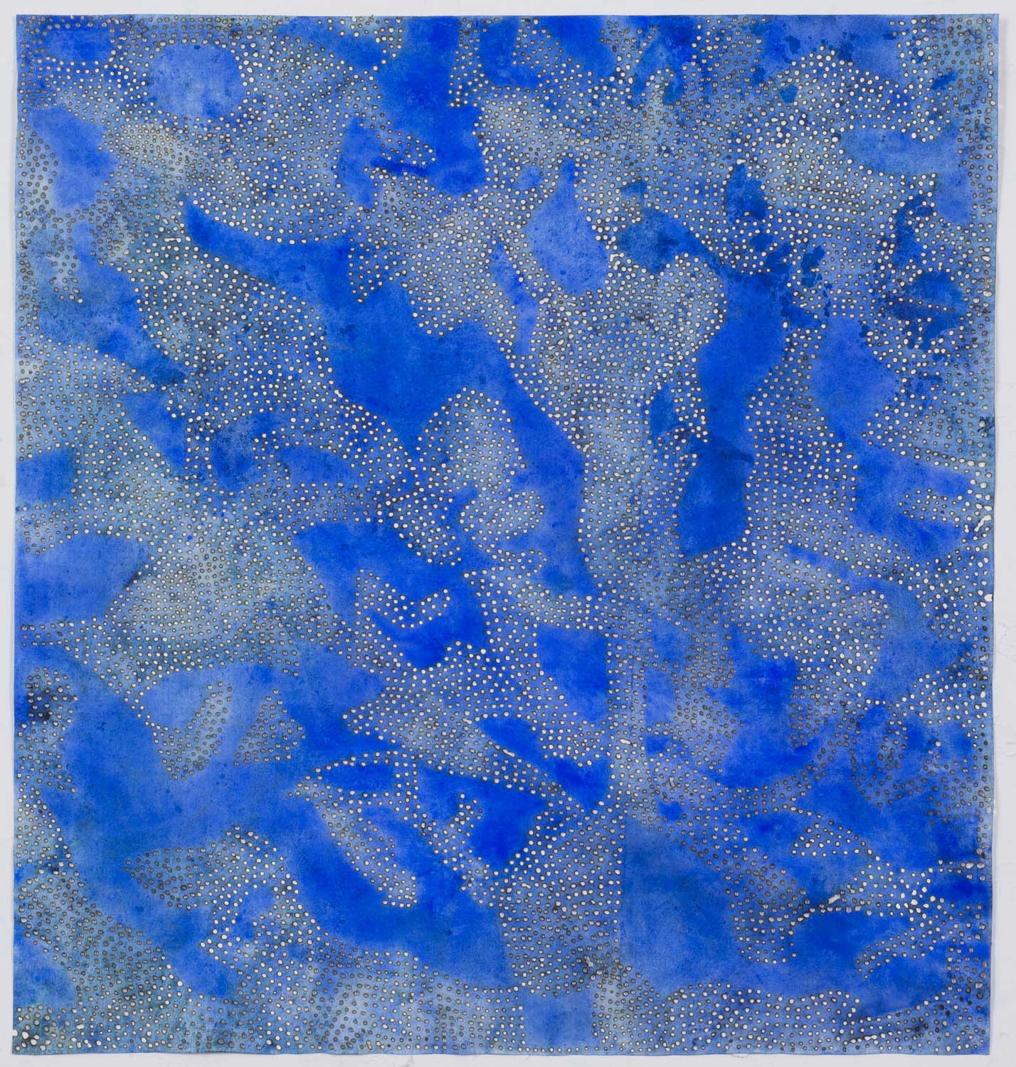 "Blue 15   2015  solar burn on pigmented paper  18"" x 17"""