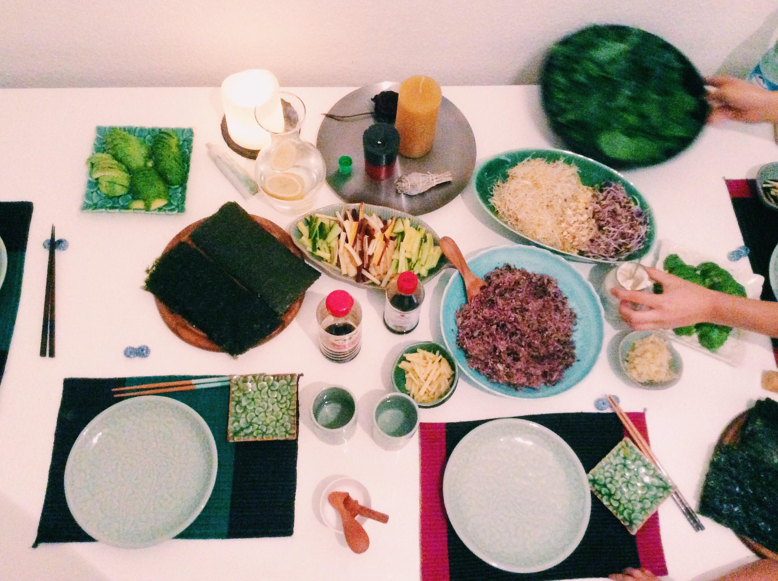 まゆちゃん宅にてVegan Temaki Sushi party!