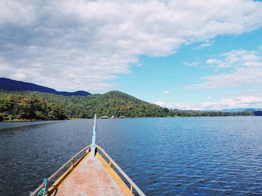 Approaching Om Waters by boat!