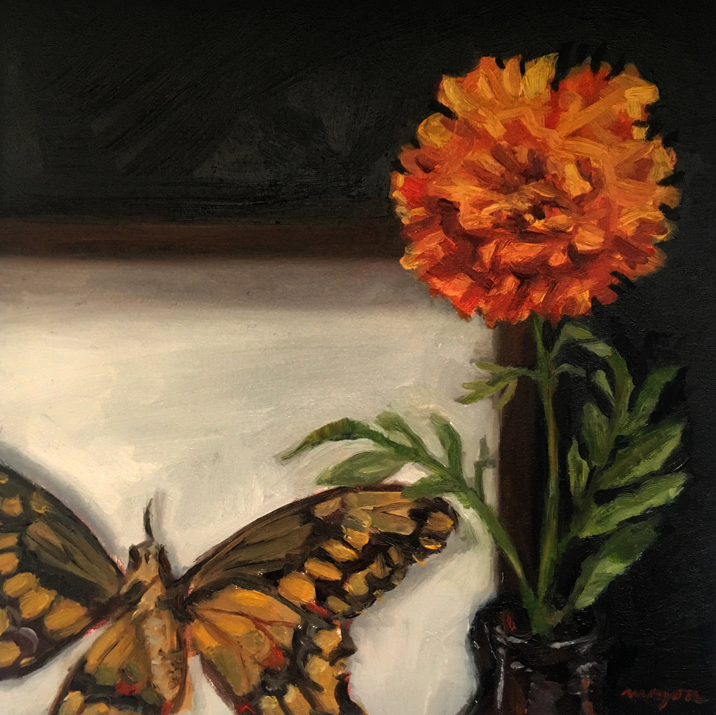 Dead Butterfly   Oil painting on panel