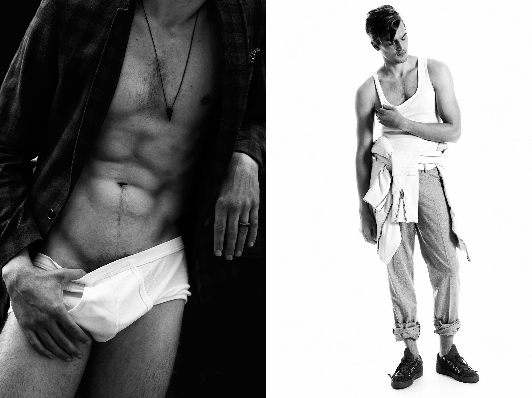 Blazer: The Suits, Briefs: Zeeman, Necklace: Icon Brand ;  Singlet: Zeeman, Flannel trousers: Hackett London, Leather jacket: Mads NØrgaard, Belt: Stylist own, Ring: Icon Brand,  Shoes: Filling Pieces
