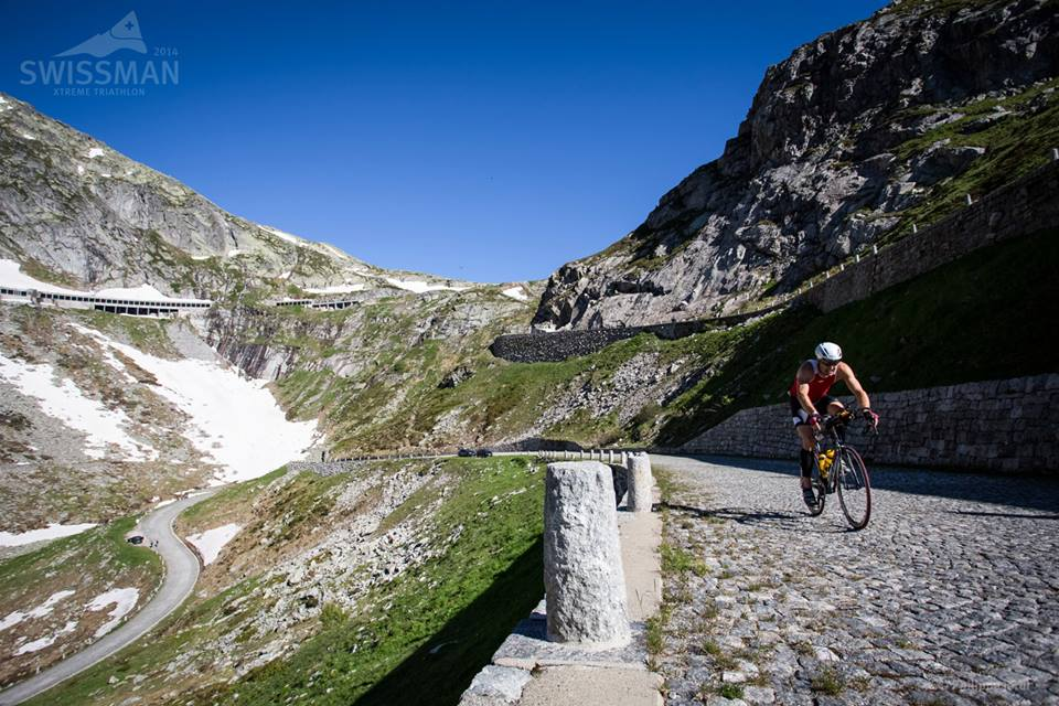 SWISSMAN competitors cycle 180 km through the mountains, passing three major mountain passes, the Gotthard Pass, the Furka Pass and the Grimsel Pass, with Furka as the highest reaching 2,436 meters above sea level