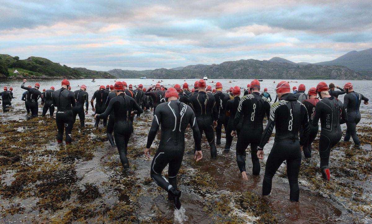 The start of the CELTMAN swim