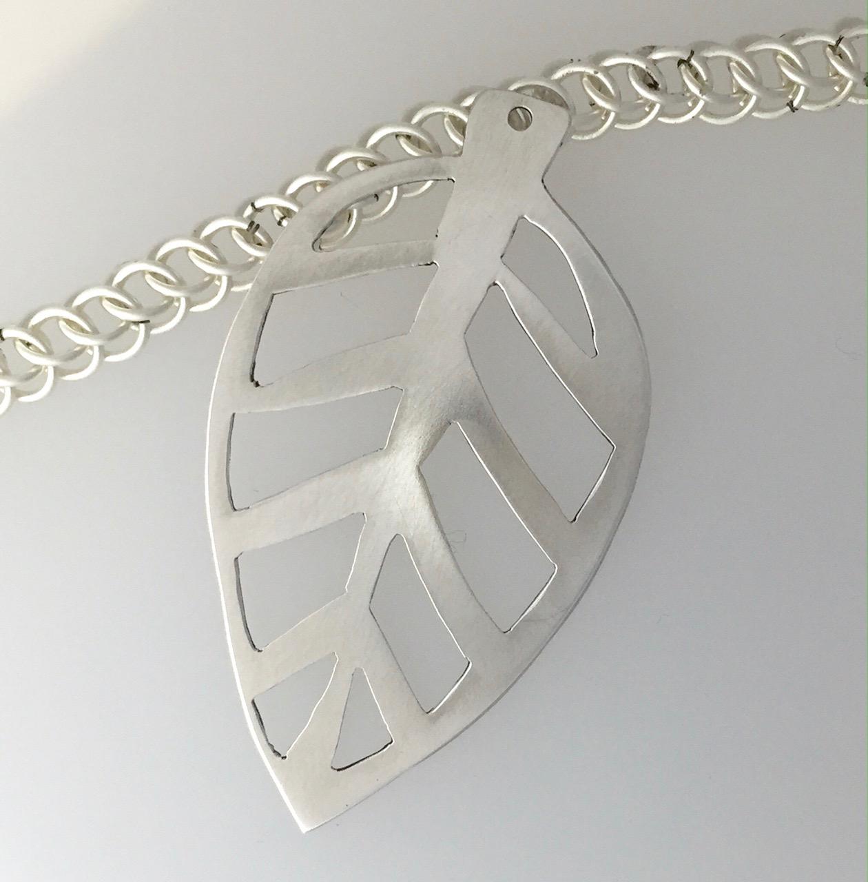 Pierced (sawed) silver leaf pendant