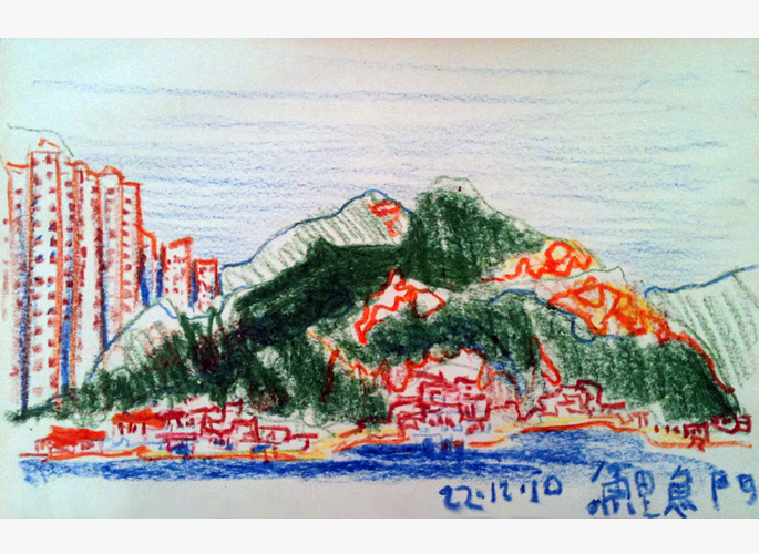 John Hobbie painting of Lei Yue Mun