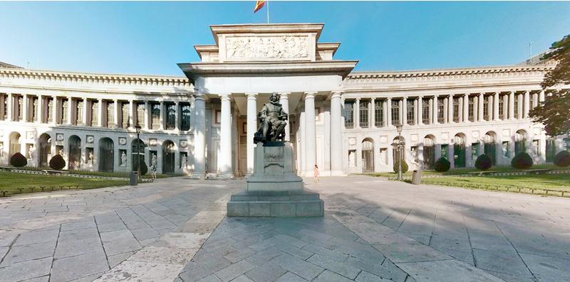 Photo orientation and navigation. Visualisation of the Velazquez Entrance, Museo del Prado, Madrid