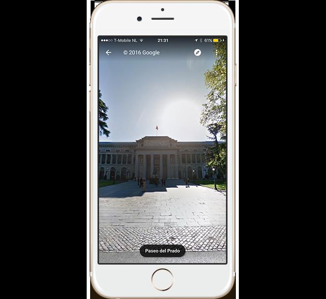 Google StreetView on mobile phone showing  Velazquez Entrance, Museo del Prado (Madrid - Spain)