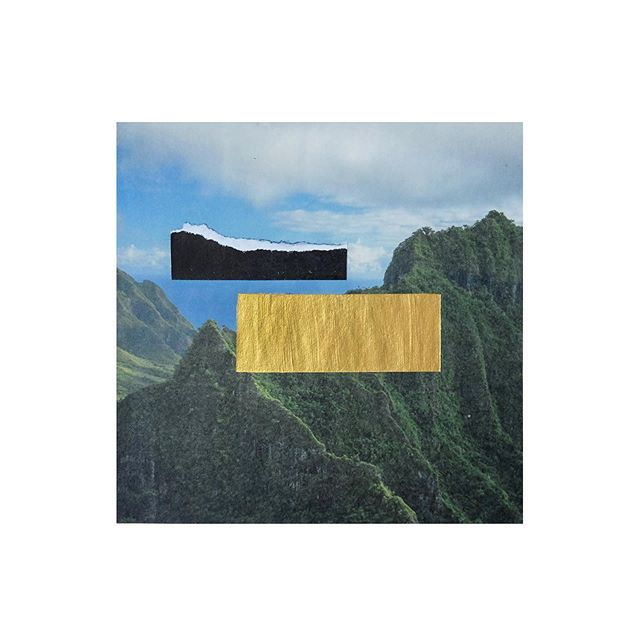 perpetually missing mountains #koolaus #landscape #collageart #ハワイ #コオラウ山脈 #アート#goldpaint #handcut