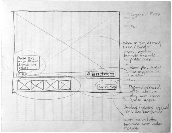 Preliminary wireframe sketches of the screening room experience.