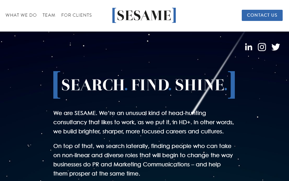 Sesame - London-based head-hunting consultancySite upgraded in April 2019