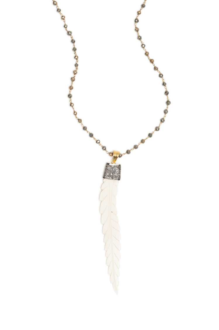 Faceted Pyrite And Carved Bone Feather Necklace With Champagne Diamonds In Black Rhodium Rox By Two