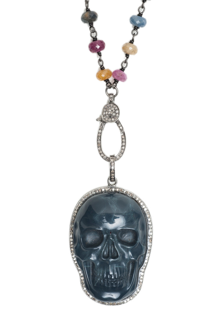Faceted Multi Colored Sapphire And Carved Blue Agate Skull Necklace With Champagne Diamonds Rox By Two