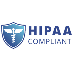 "Medical symbol on shield with words ""HIPPA Compliant"""