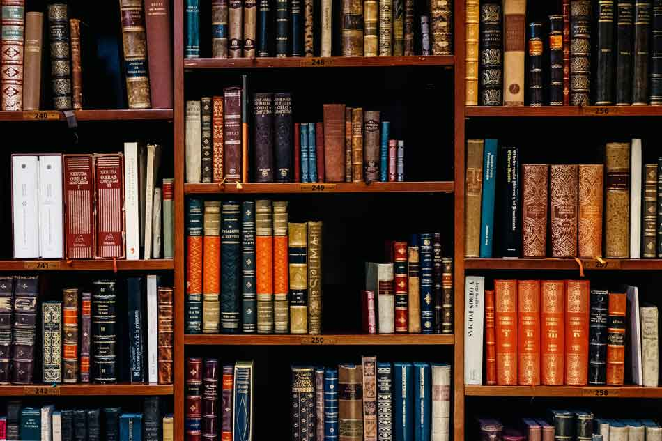 Bookshelf filled with legal and reference books