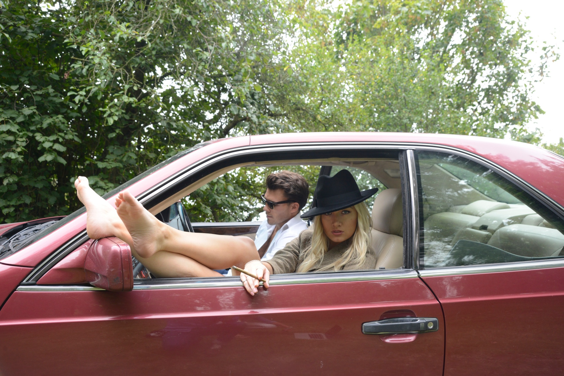Zoe and I in an old Merc for a Pink Pantaloon shoot.