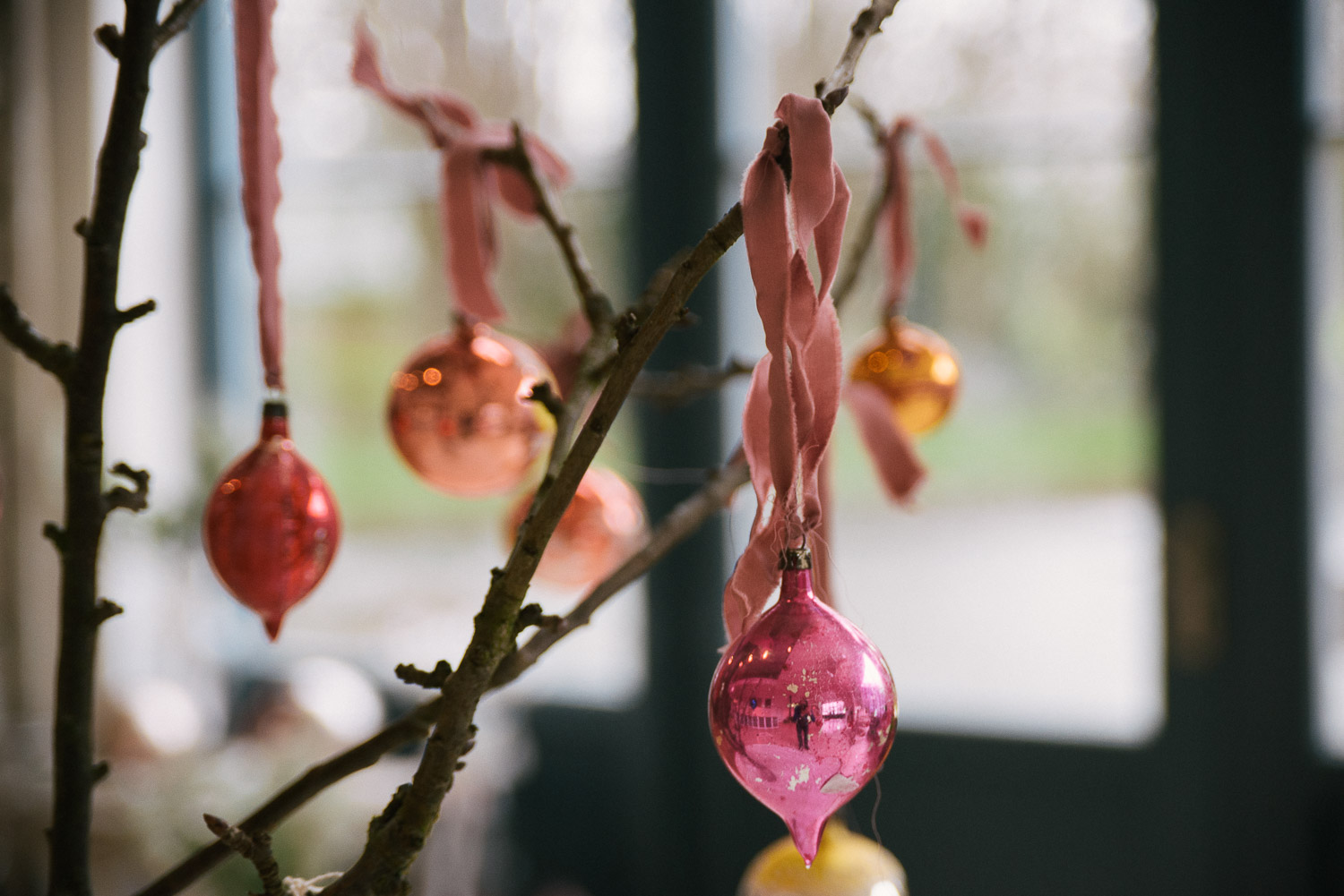 Lovely baubles hung with our beautiful dusky pink silk!