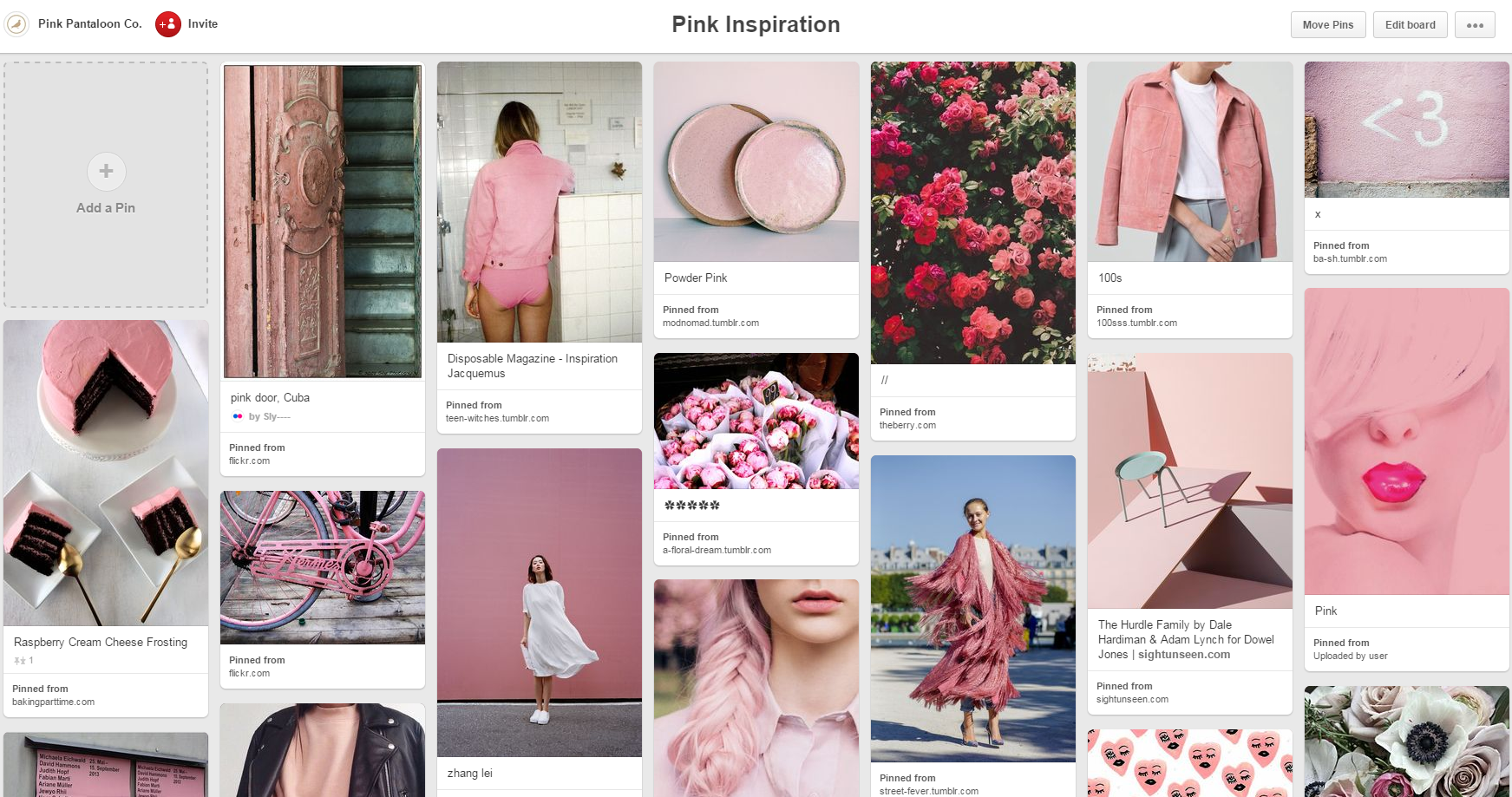 Our Pink Inspiration Pinterest board...