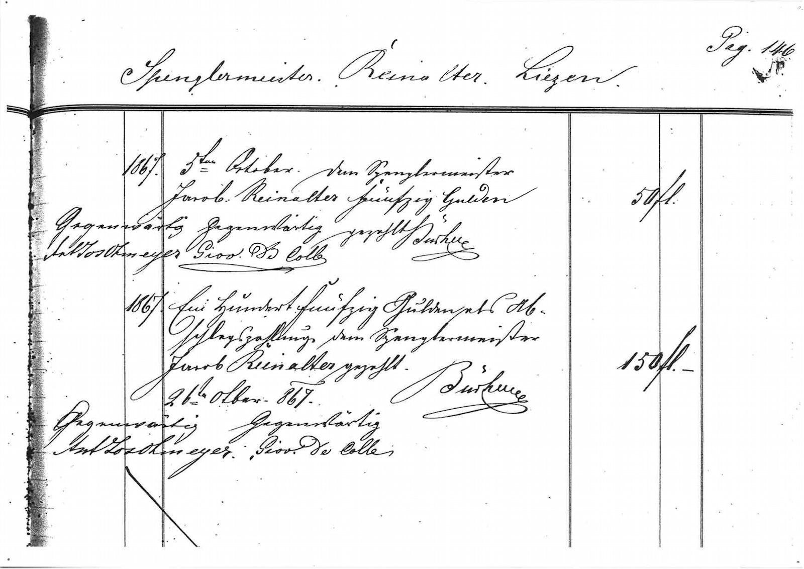 Abschlagszahlung des Stiftes Admont anlässlich der Neudeckung der Stiftsgebäude nach dem Brand 1865.