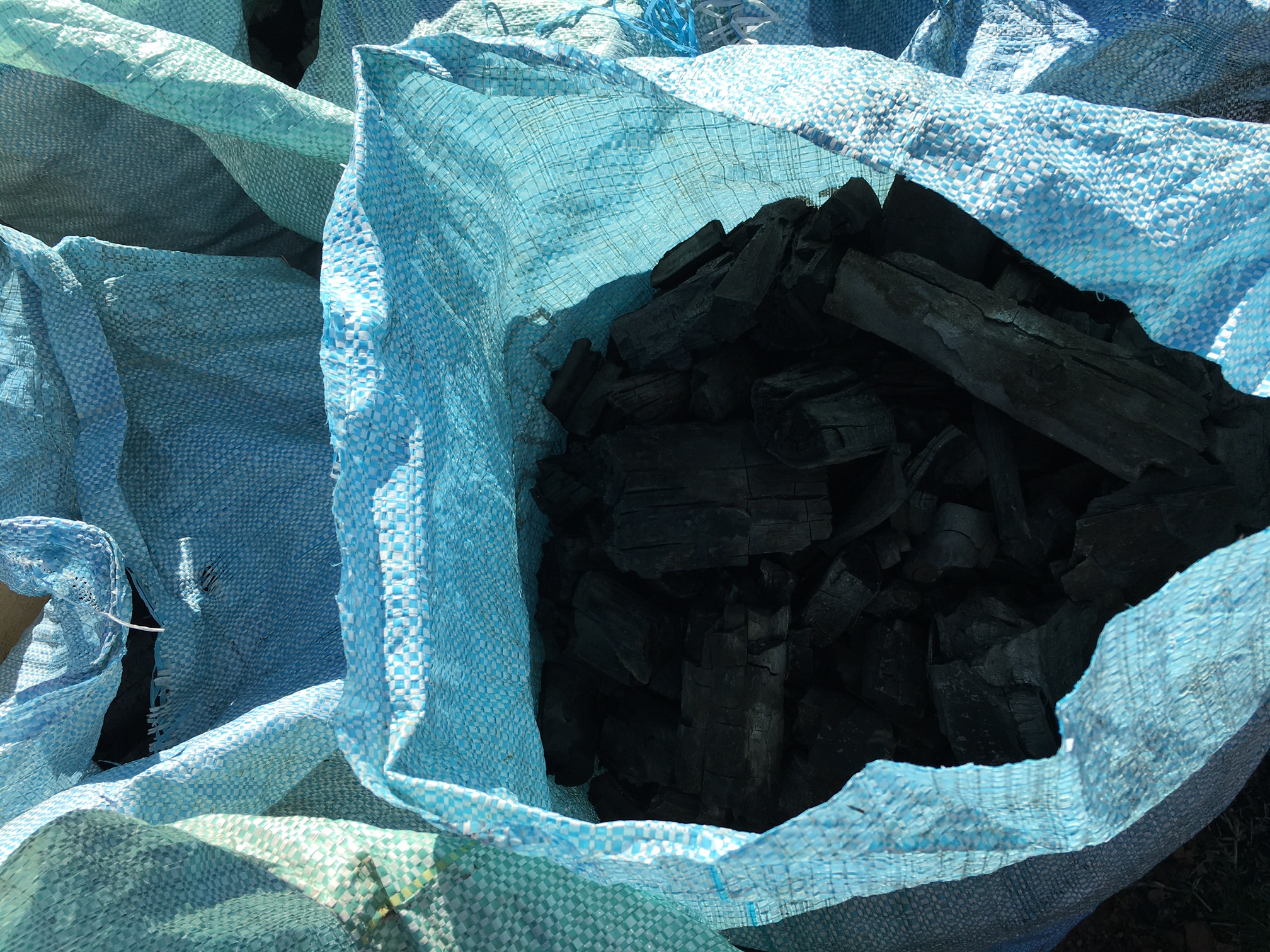 Charcoal made from invasive Black Wattle Trees