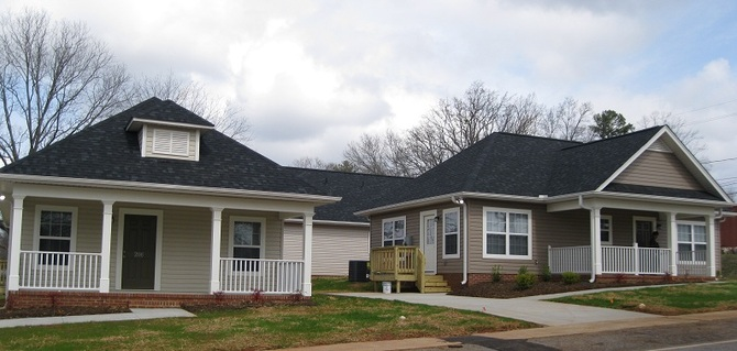 Two of the ATCEDC houses that make up the first affordable rental development in Pickens. Completed March 2012.