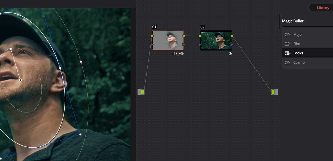 Magic Bullet Looks 3 in DaVinci Resolve 12. The masked Resolve correction is under the Look.