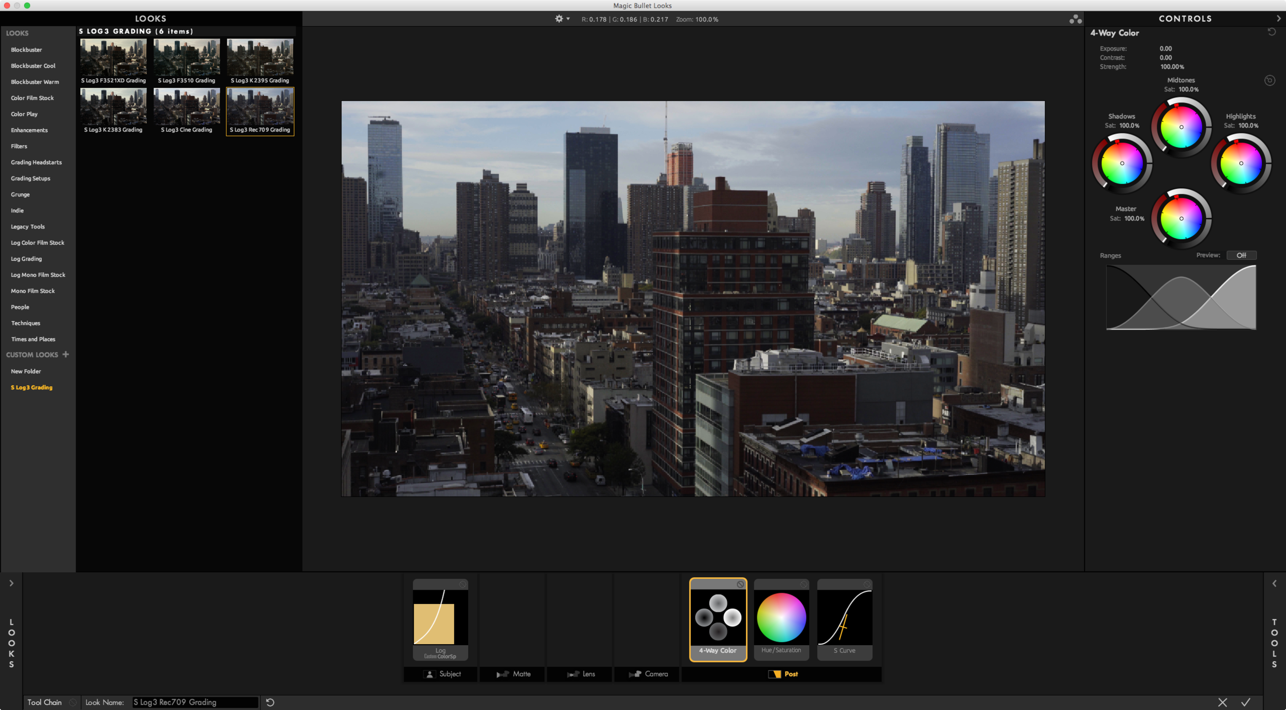 The Hue/Saturation and S-Curve tools are all it takes to emulate Sony's S-Log3 to Rec709 LUT.