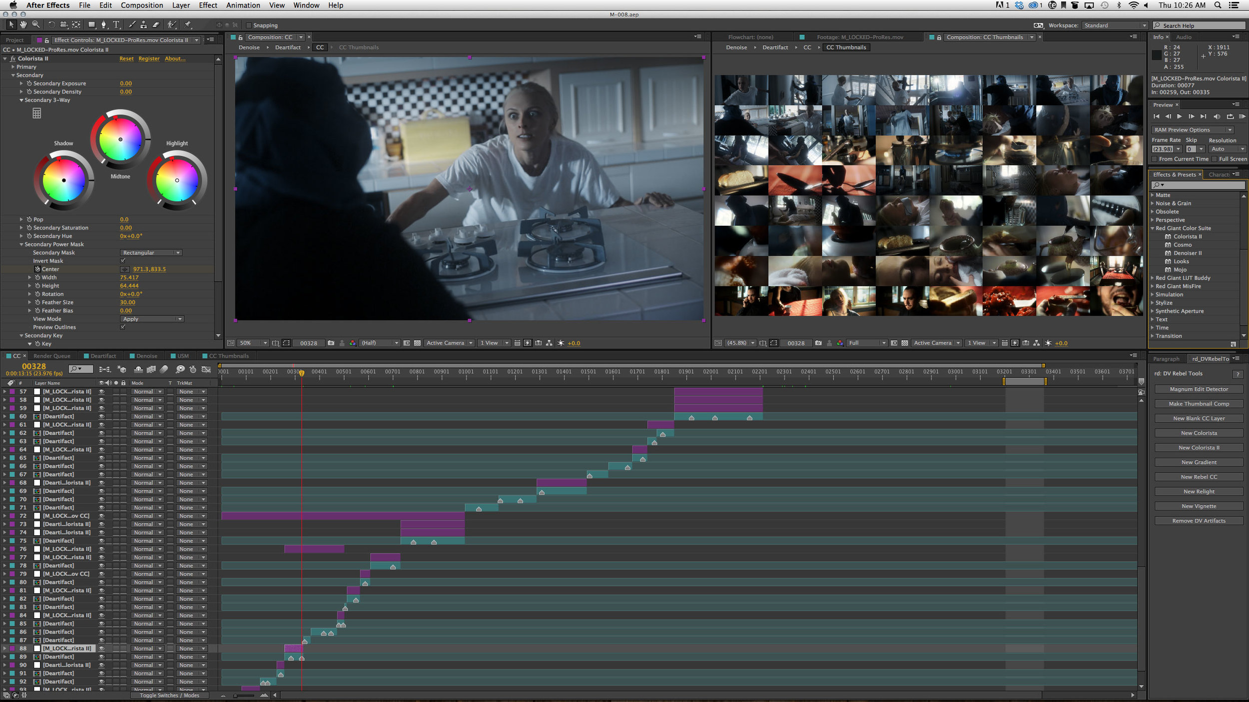 Me coloring a short for a friend back in the Colorista II days. Thumbnails on the right courtesy of my free DV Rebel Tools.