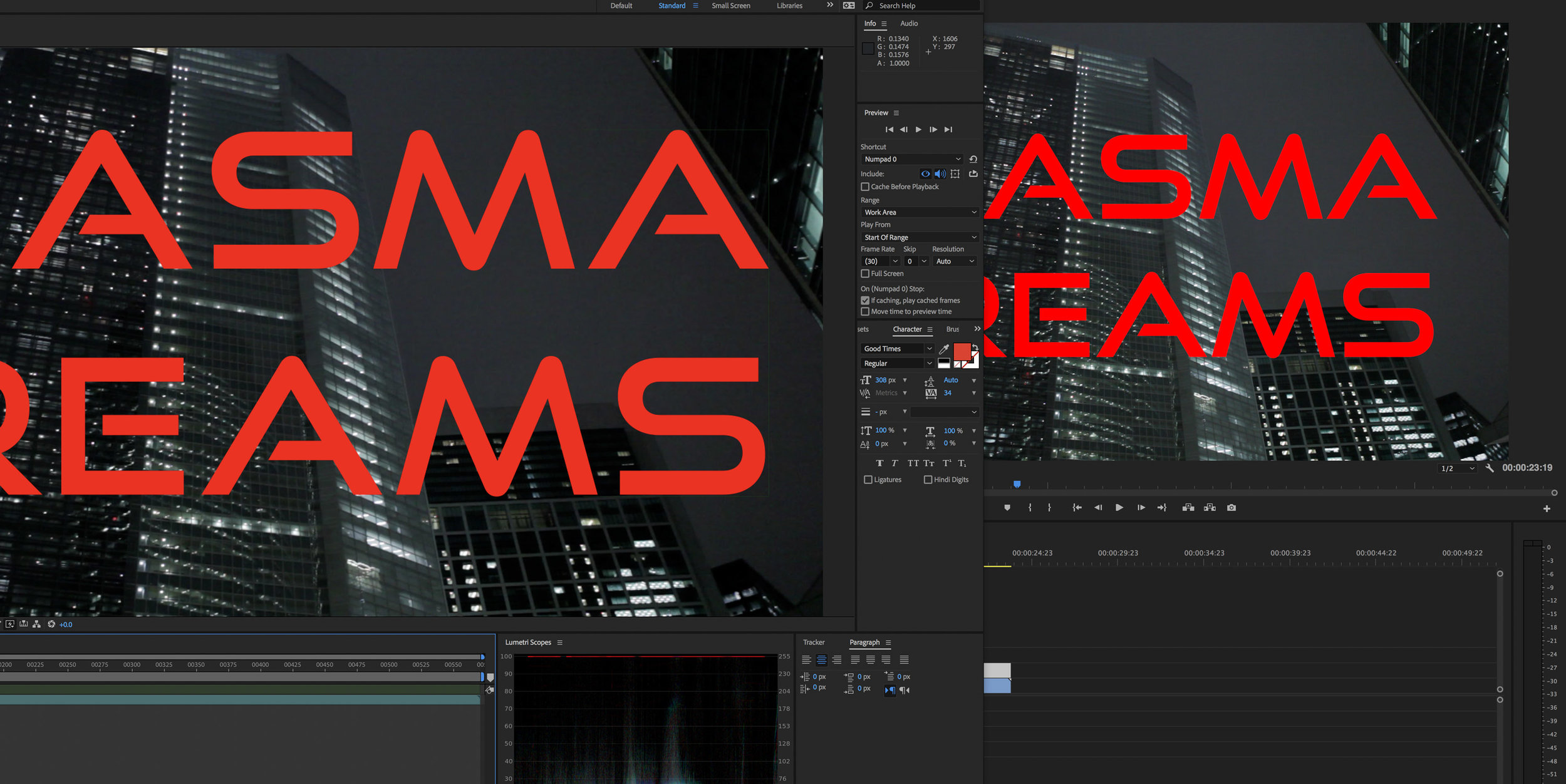 Color managed red in After Effects on the left, non-color-managed red in Premiere on the right.