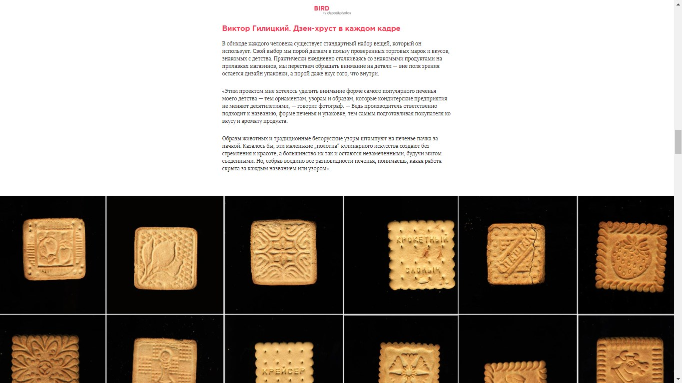 "Project ""Cookies"" as part of a big article at the ""Bird In Flight"" - online magazine about visual culture (2017, in russian)."
