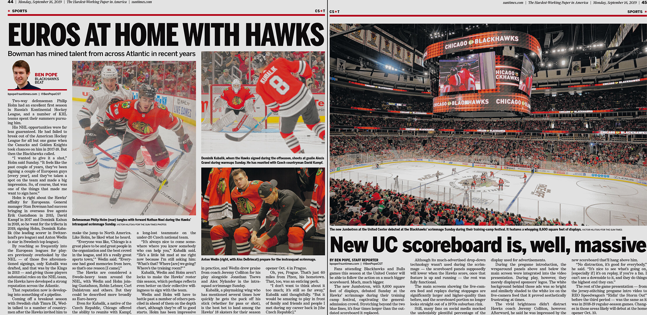 Spread of the Chicago Sun-Times newspaper with coverage of Blackhawks' training camp scrimmage 2019.