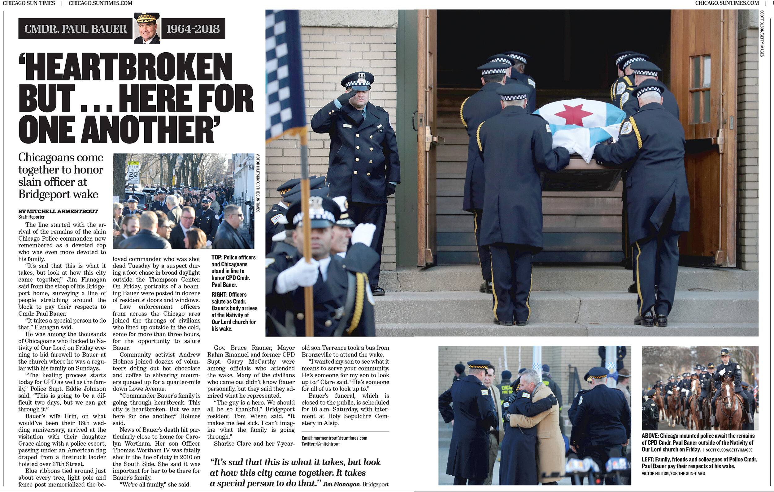 A memorial service for Police Cmdr. Paul Bauer. For the Chicago Sun-Times , 2017