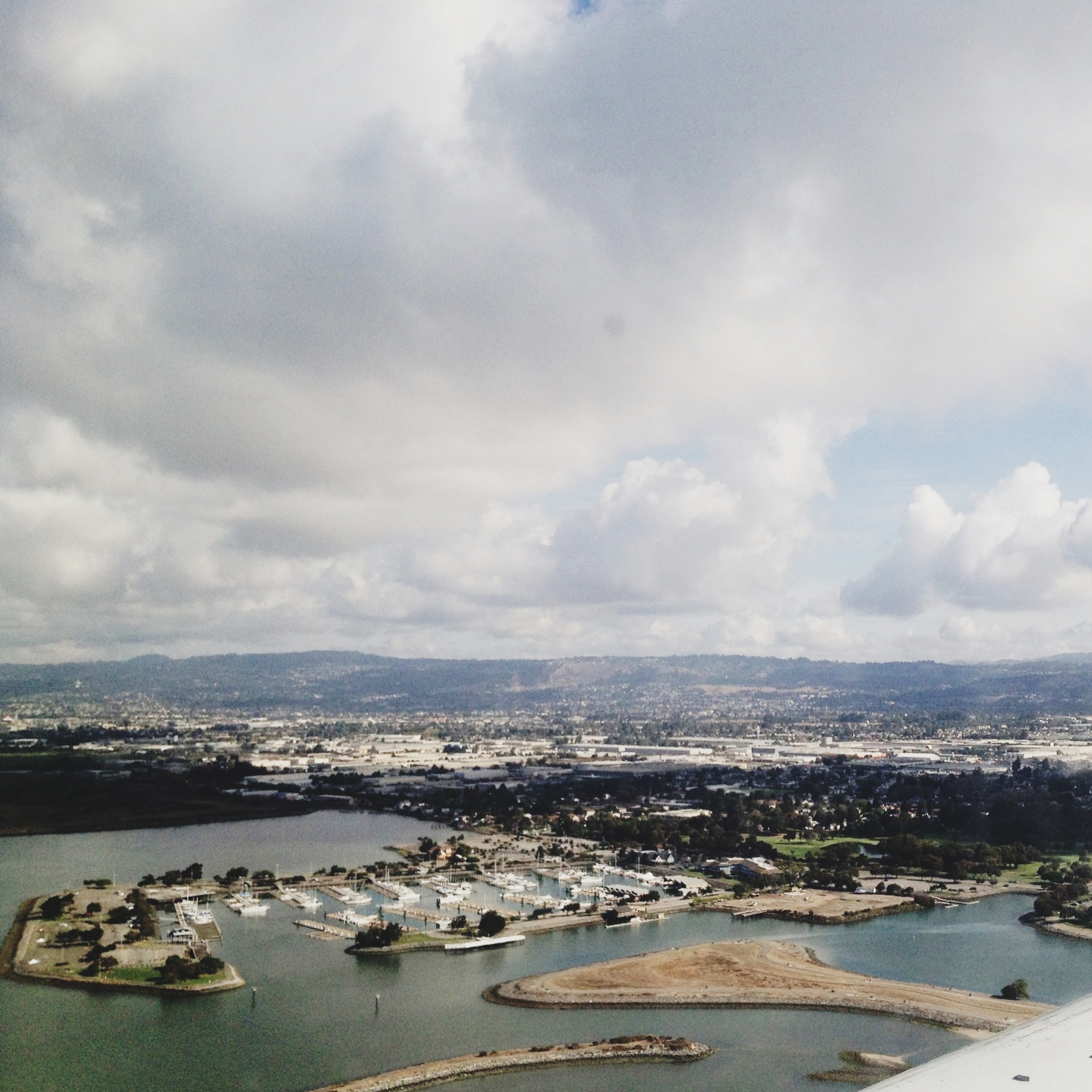 Flying into California.