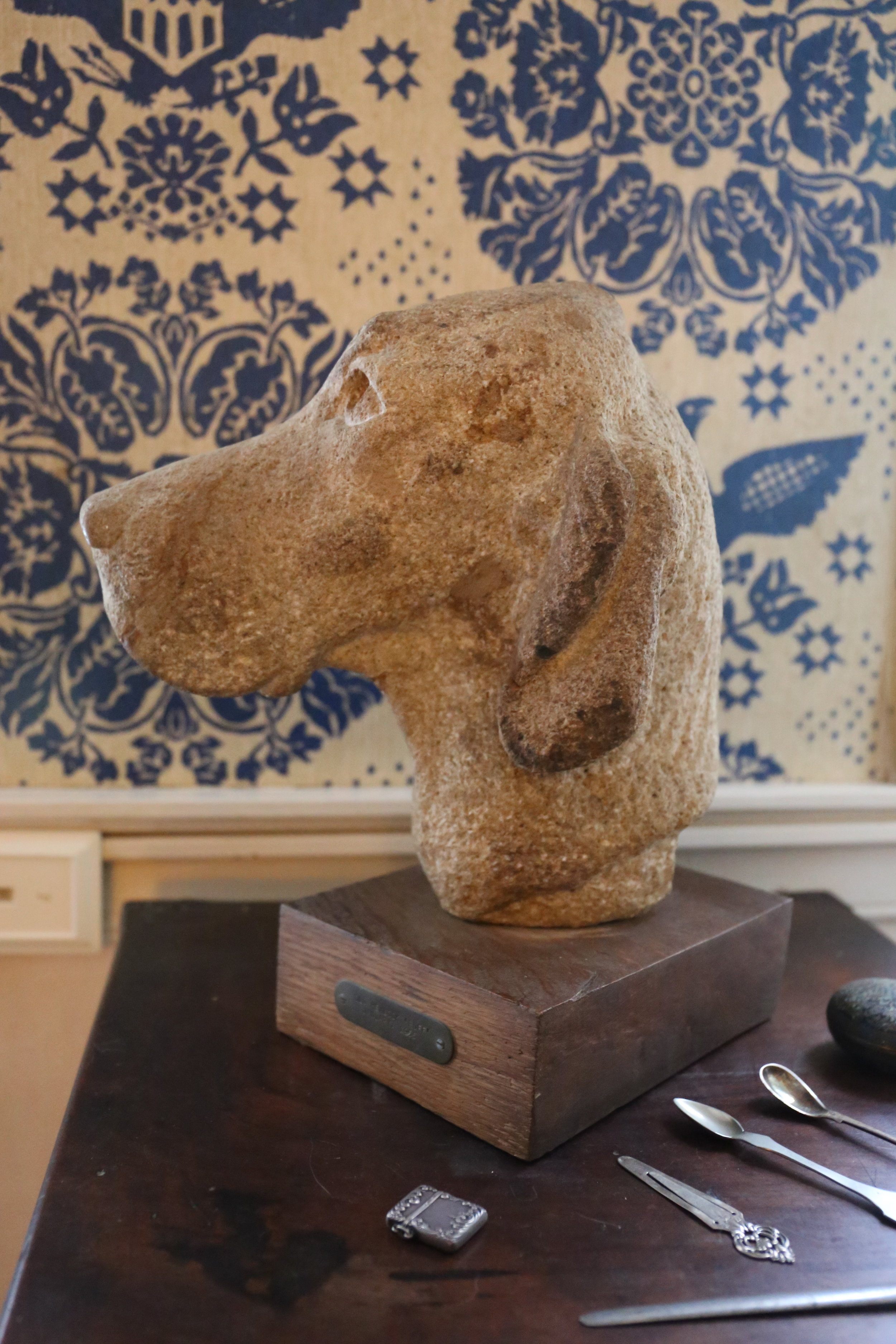 Sandstone bust of OH Ruff's magnificent head sculpted by George.