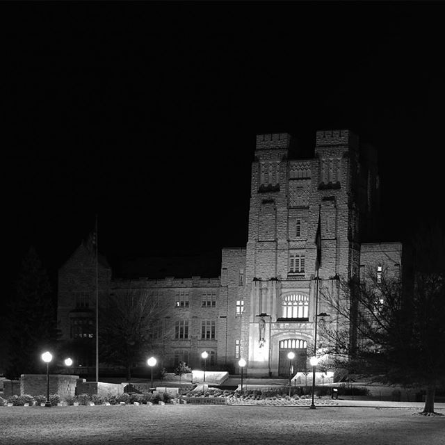 """@olivia_at_vt is live streaming snow on the drillfield, which made me dig through my old photos to find these favorites of mine from November 21, 2008. I shot them just after midnight and stayed out for an hour or so in the cold. They are not especially great photos, but they reminded me of how eager I was to challenge myself to capture the way the drillfield looked to me in the snow that night. It was the first time I'd ever shot anything at night and it was very cold. Then @americnhoney and @_mmshea let me into their residence hall, where so many of my friends lived and which was like a home away from home during that very hard year, to warm up. @_mmshea said something about how she had """"all these blankets,"""" to which I replied, """"You're so right. You have 100 percent of those blankets. All of those blankets right there are in your possession. Not 50 percent of them, not 75 percent of them..."""" and I went on and on and the laughter made me hopeful that I was more funny than annoying. I am grateful for my good memory because I still get laughs out of so many of the little things I remember, all these years later."""