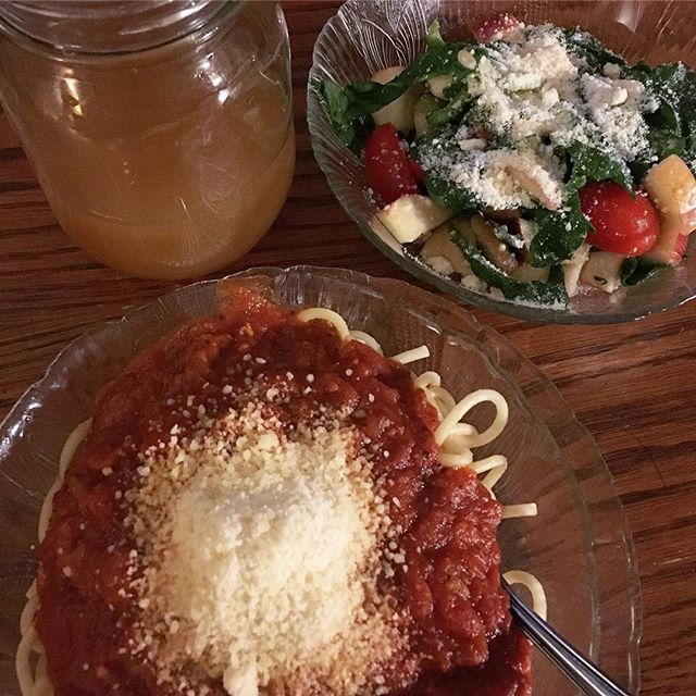 Leftover chicken parm... and a fresh apple cucumber spinach salad with a raspberry vinaigrette and Parmesan.