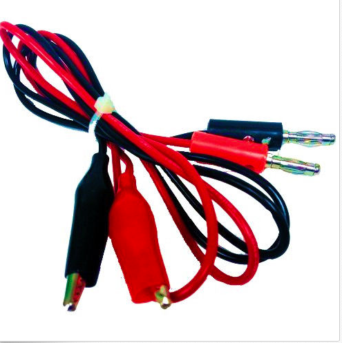 Postive and negative leads with alligator clips.