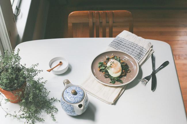 mushroom kale + lemon eggs