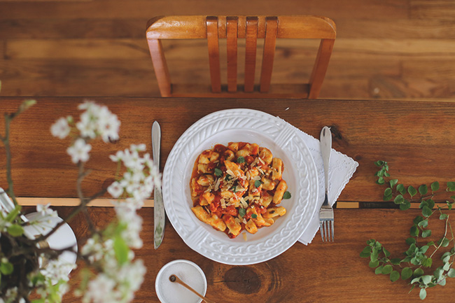 home made gnocchi with smoked paprika sauce