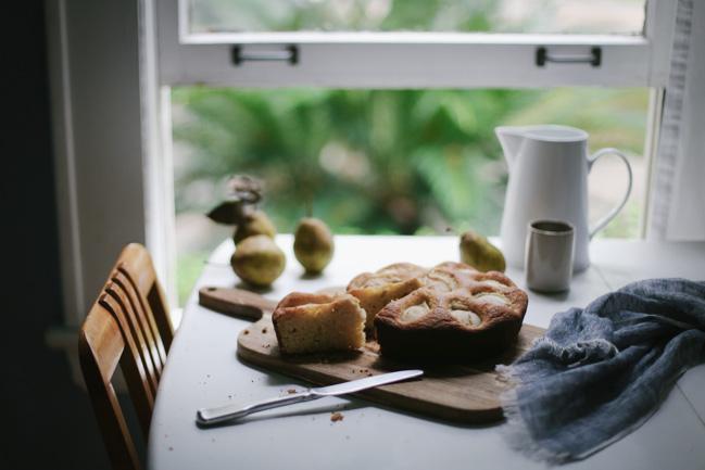 ricotta maple + sand pear cake