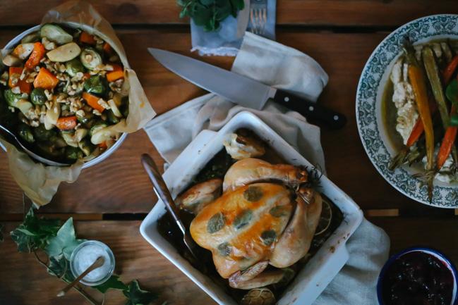 roast chicken with meyer lemon + garden herbs