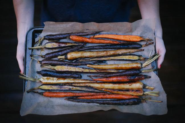 maple roasted carrots with cauliflower puree