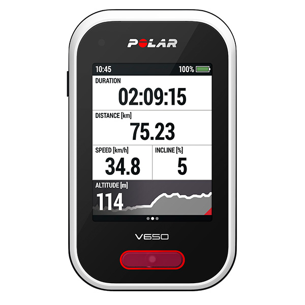 Polar V650 Cycling Computer   Advanced cycling computer with integrated GPS and unique Smart Coaching training features. Includes Polar H6 Bluetooth Smart heart rate sensor.  Large 2.8 inch color touch screen- easily monitor training data even at high speeds, Provides accurate altitude data with barometric pressure sensor;New bike mount allows solid and easy mounting. Instant data sync, training analysis and sharing via Flow app and web service, Seamless connectivity with compatible Bluetooth Smart heart rate and cycling sensors