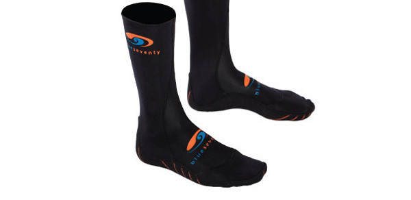 Swim Socks    Price $30   Form fitting neoprene socks not only keep your toes warm when swimming in chilly waters, but they help prevent injury to the bottom of your feet when walking or running on rocky surfaces. They come in handy on long transition runs too.