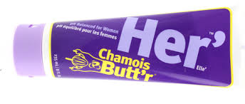 Chamois Butt'r Her'   is a non-greasy skin lubricant developed by cyclists for use with all chamois. It immediately improves riding comfort & soothes already chafed or irritated skin.Chamois Butt'r Her' was developed by a female sports medicine physician in cooperation with professional women cyclists. Her' utilizes premium ingredients including aloe vera, green tea leaf extract, tea tree oil, shea butter & lavender oil for their naturally occurring beneficial properties. All Chamois Butt'r products are safe for women and men, but Her' is pH balanced for women. Apply liberally to skin and/or chamois before each ride. May be applied to any skin areas that rub together or against clothing. Apply to skin to soothe & soften.